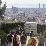 A graffiti against tourists is seen at the Guell Park in Barcelona, Spain, on 07 august 2017. The so called 'tourist phobia' is rising amongst some people in Barcelona against the massive number of tourist visiting the city. The Association of Hotels in Barcelona has demanded action against this type of vandalic acts related to the 'tourist phobia'. According to hotels, the recent 'hate' towards tourists is totally related to the flats rented illegally to tourists. EFE/Quique Garcia//EFE_20170807-636377144270121956/Credit:Quique García/SIPA/1708071505